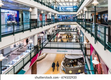 Montreal, Canada - May 26, 2017: Underground city shopping mall in downtown area at Niveau Metro in Quebec region