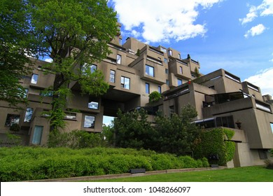 MONTREAL, CANADA MAY 4 2008: The Habitat 67, a model community and housing complex with a remarkable architectural design, on a sunny day.
