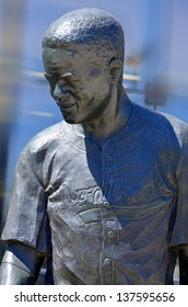 MONTREAL CANADA MAY 5: Bronze statue of Jackie Robinson American baseball player who became the first African American to play in Major League Baseball (MLB). On may 5 2013 in Montreal Canada