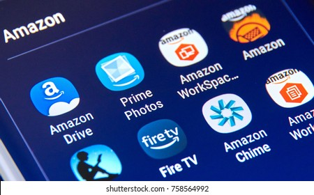 MONTREAL, CANADA - NOVEMBER 12, 2017: Amazon different Android applications icons on Samsung S8 screen. Amazon.com, Inc., is an American electronic commerce and cloud computing company based in USA