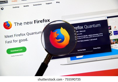 MONTREAL, CANADA - NOVEMBER 14, 2017: Firefox Quantum home page. Firefox Quantum is a version of Mozilla's internet browser, said to be significantly faster and more efficient than its competitors.