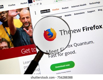 MONTREAL, CANADA - NOVEMBER 14, 2017: Firefox Quantum home page. Firefox Quantum is a version of Mozilla s internet browser, said to be significantly faster and more efficient than its competitors.
