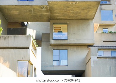 MONTREAL, CANADA - November 14, 2017: Habitat 67 is a housing complex in Montreal of 354 identical, prefabricated concrete forms arranged in various combinations, reaching up to 12 stories in height