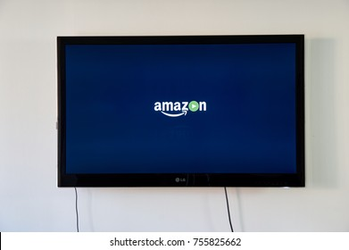 MONTREAL, CANADA - NOVEMBER 15, 2017: Amazon Prime Video logo on LG TV. Amazon Prime Video is the streaming-video component of Amazon Prime.