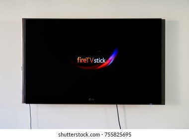 MONTREAL, CANADA - NOVEMBER 15, 2017: Amazon Fire TV Stick on LG TV. Amazon Fire TV Stick is a low cost version in a HDMI-stick format of Amazon Fire TV, Android based.
