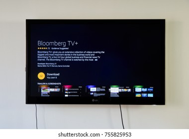 MONTREAL, CANADA - NOVEMBER 15, 2017: Bloomberg TV app on LG TV screen. Bloomberg delivers business and markets news, data, analysis, featuring stories from Businessweek and Bloomberg News