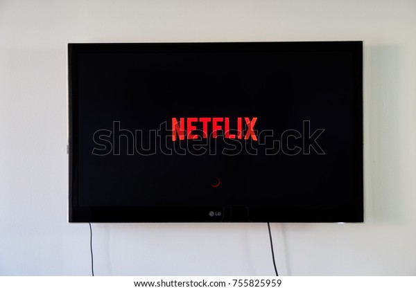 MONTREAL, CANADA - NOVEMBER 15, 2017: Netflix logo on LG TV. Netflix is an American entertainment company founded by Reed Hastings and Marc Randolph on August 29, 1997, in Scotts Valley, California.