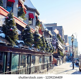 MONTREAL, CANADA - NOVEMBER 22 2018: Pubs in downtown Montreal on sunny winter morning