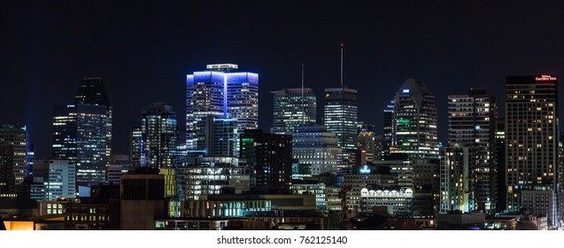 Montreal, Canada - November 25, 2017. Downtown Skyscrapers and City Skyline at Night from an Elevated Point of View.