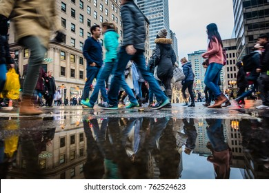 Montreal, Canada - November 25, 2017. People with Motion Blur Walking Fast During Shipping Hour on Ste-Catherine Street before Xmas