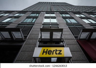 MONTREAL, CANADA - NOVEMBER 3, 2018: Logo of Hertz on their main office for Montreal, Quebec. Hertz is a car rental company from the USA spread worldwide