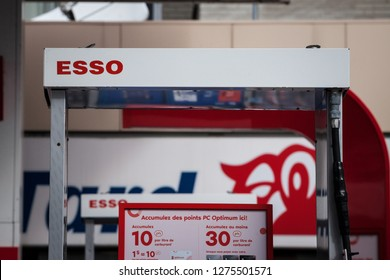 MONTREAL, CANADA - NOVEMBER 3, 2018: Esso logo in front of one of their gas stations in Canada. Esso is one of the petroleum production and sales brand of Exxon Mobil