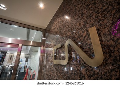 MONTREAL, CANADA - NOVEMBER 4, 2018: CN logo on their main office for Quebec. Also known as Canadian National Railway, it is the main freight and cargo rail operator in Canada