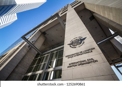 MONTREAL, CANADA - NOVEMBER 4, 2018: Logo of the international civil aviation organization, on their heaquarters office. Also called OACI, it's the UN body regulating civil aviation