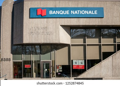 MONTREAL, CANADA - NOVEMBER 4, 2018: Logo of the National Bank of Canada, translated in French Banque Nationale, in Montreal, Quebec. It is one of the largest Canadian banks