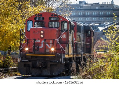 MONTREAL, CANADA - NOVEMBER 4, 2018: Diesel locomotives with the CN logo shunting. Also known as Canadian National Railway, it is the main freigh and cargo rail operator in Canada