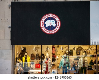 MONTREAL, CANADA - NOVEMBER 5, 2018: Logo of Canada Goose Arctic Program on their main shop. Canada Goose is a Canadian Fashion Apparel brand of winter wear and fur coats