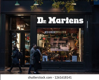 MONTREAL, CANADA - NOVEMBER 5, 2018: Dr Martens logo on their main shop for Montreal, Quebec. Dr Martens is a British footwear, shoes and apparel company