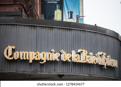 MONTREAL, CANADA - NOVEMBER 5, 2018: Compagnie de la Baie d'Hudson logo on their department store for Montreal, Quebec. Also known as Hudson's Bay, it is the oldest Canadian retailer