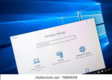 MONTREAL, CANADA - NOVEMBER 7, 2017: Windows 10 settings page on a laptop screen. Windows 10 is one of the most popular operating systems made by Microsoft.