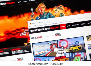 MONTREAL, CANADA - NOVEMBER 7, 2017: Grand Theft Auto Online home website. The game is a persistent open world online multiplayer video game developed by Rockstar North and published by Rockstar Games