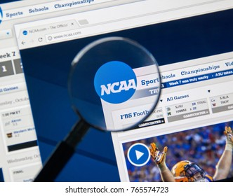 MONTREAL, CANADA - NOVEMBER 7, 2017: NCAA web page. The National Collegiate Athletic Association is a member-led organization dedicated to the well-being and lifelong success of college athletes