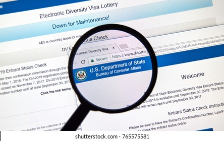 MONTREAL, CANADA - NOVEMBER 7, 2017: Electronic Diversity Visa Lottery official web site with rules and online application. The lottery is one of the ways to get a Green card to the US.