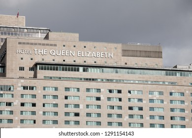 MONTREAL, CANADA - NOVEMBER 7, 2018: The Queen Elizabeth logo on their building in downtown Montreal, Quebec. Hotel Reine Elizabeth is a landmark and is one of the mian luxurious hotels of Fairmont Gr