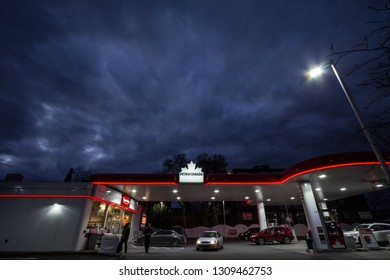 MONTREAL, CANADA - NOVEMBER 8, 2018: Petro-Canada logo in front of one of their gas stations in Canada. Belonging to Suncor Energy, petro Canada is a petrol station brand spread in Canada