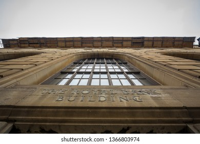 MONTREAL, CANADA - NOVEMBER 9, 2018: Entrance of the Royal Bank Building in Old Montreal. Also called Edifice Banque Royale, it is a 1920's skycraper of the Vieux Montreal
