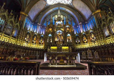 MONTREAL, CANADA, OCTOBER 03, 2016 : interiors and details of Notre Dame basilica, october 03, 2016 in Montreal, quebec, Canada