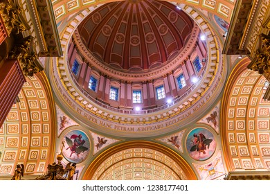 MONTREAL, CANADA, OCTOBER 09, 2016 : interiors and details of Mary queen of the world basilica, october 09, 2016 in Montreal, quebec, Canada