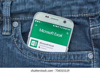 MONTREAL, CANADA - OCTOBER 10 2017 Microsoft Excel android application on Samsung S7. Microsoft Excel is a spreadsheet developed by Microsoft for Windows, macOS, Android and iOS