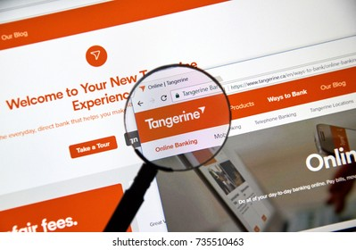 MONTREAL, CANADA - OCTOBER 12, 2017: Web page of Canadian Tangerine Bank. Tangerine Bank, operating as Tangerine, is a Canadian direct bank and a subsidiary of Scotiabank