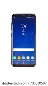 MONTREAL, CANADA - OCTOBER 12, 2017: New Samsung s8 on a white background. Samsung Group is a South Korean multinational conglomerate headquartered in Samsung Town, Seoul