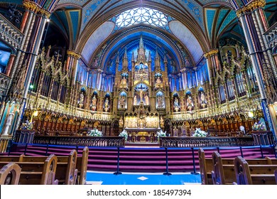 MONTREAL, CANADA - OCTOBER 12: Interior of Notre-Dame Basilic on October 12, 2013 in Montreal, Canada. The church's Gothic Revival architecture is among the most dramatic in the world.