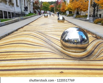 MONTREAL, CANADA - OCTOBER 13, 2018:  Montreal Fine Arts Museum with the street of Moving dunes
