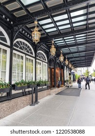 MONTREAL, CANADA - OCTOBER 13, 2018: The entrance to the Ritz-Carlton hotel on Sherbourne Street in downtown Montreal, Quebec, Canada
