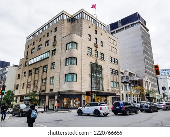 MONTREAL, CANADA - OCTOBER 13 2018: Holt Renfrew on Sherbourne Street in downtown Montreal. Holt Renfrew is a chain of high-end Canadian department stores.