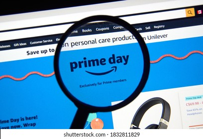 Montreal, Canada - October 13, 2020 : Amazon Prime Day 2020 on a laptop screen under magnifying screen. Prime Day is Amazon annual sale event exclusively for Prime members, happens in October of 2020