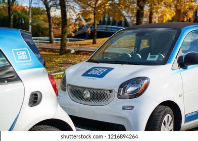Montreal, Canada - October 14, 2018: German car rental company car2go, a subsidiary of Daimler AG, offers Smart and Mercedes-Benz vehicles and features one-way point-to-point rentals.