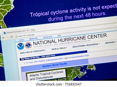 MONTREAL, CANADA - OCTOBER 2, 2017: Web page of National Hurricane Center. The National Hurricane Center is co-located with the National Weather Service Miami-South Florida Weather Forecast Office