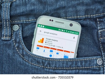 MONTREAL, CANADA - OCTOBER 2, 2017: Google Analytics android app on S7. Google Analytics is a freemium web analytics service offered by Google that tracks and reports website traffic.