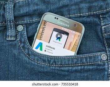 MONTREAL, CANADA - OCTOBER 2, 2017: Google Adwords android app on S7. Google AdWords is an advertising service by Google for businesses wanting to display ads.
