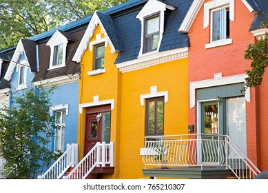MONTREAL, CANADA - October 2017: The colourful Victorian facades of the Le Plateau neighbourhood