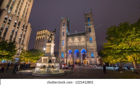Montreal, Canada, October 2018: Montreal city near the Notre Dame Cathedral by night