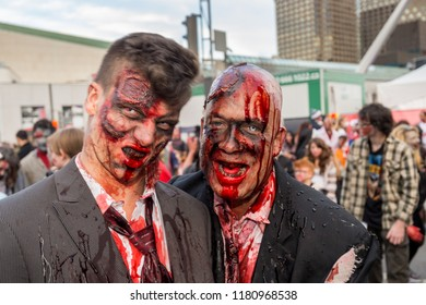 Montreal, Canada - October 28, 2017: Undead men taking part in the Zombie Walk in Montreal Downtown