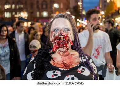Montreal, Canada - October 28, 2017: People taking part in the Zombie Walk in Montreal Downtown