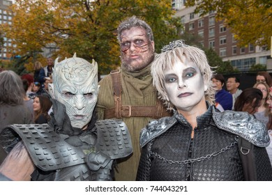 Montreal, Canada - October 28, 2017: Game of Thrones White Walkers and Hodor taking part in the Zombie Walk in Montreal Downtown