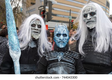 Montreal, Canada - October 28, 2017: Game of Thrones White Walkers and Night King taking part in the Zombie Walk in Montreal Downtown